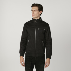 Sustainable Plain Bomber Jacket with Long Sleeves and Zip Detail