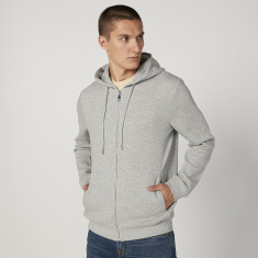 Slim Fit Plain Hoodie with Long Sleeves and Pockets