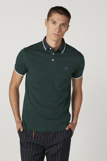 Bossini Tipping Detail T-shirt with Polo Neck and Short Sleeves