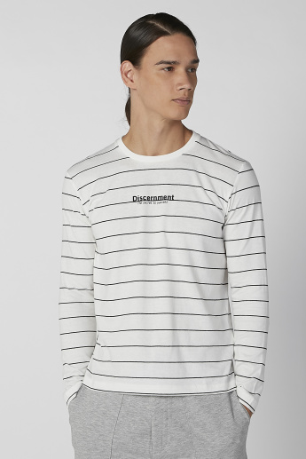 Bossini Striped Round Neck T-shirt with Long Sleeves