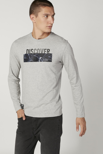 Bossini Printed T-shirt with Round Neck and Long Sleeves