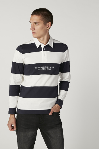 Bossini Striped T-shirt with Polo Neck and Long Sleeves