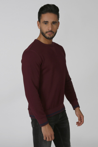 Bossini Slim Fit Textured Sweatshirt with Round Neck and Long Sleeves