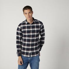 Bossini Chequered Shirt with Spread Collar and Long Sleeves