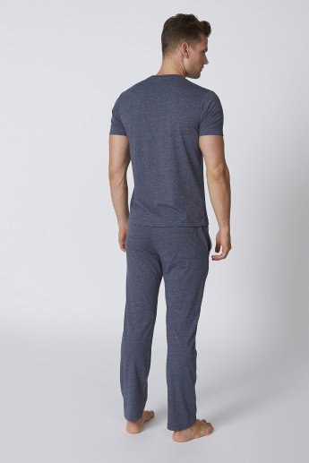Bossini Plain Round Neck T-shirt and Full Length Pyjama Set
