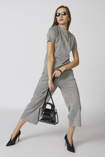 Bossini Chequered Culottes with Pocket Detail