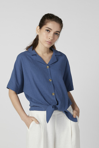 Bossini Plain Top with Button Detail and Tie Ups