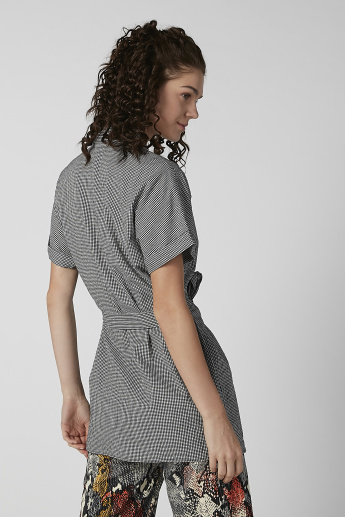 Bossini Chequered Tunic with Spread Collar and Tie Ups