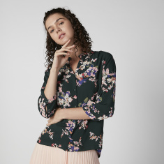 Bossini Floral Printed Shirt with Mandarin Collar and 3/4 Sleeves
