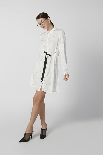Bossini Printed Midi Shirt Dress with Long Sleeves and Bow Detail