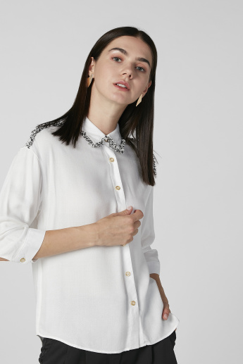 Bossini Textured Shirt with Long Sleeves and Spread Collar