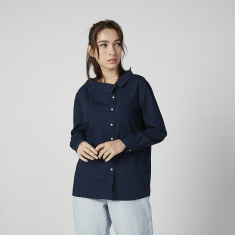 Bossini Plain Shirt with Spread Collar and Long Sleeves