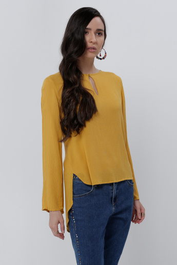 Long Sleeves Top with High Low Hem