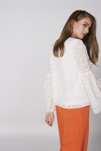 Embroidered Top with Bell Sleeves and Tie Up Detail
