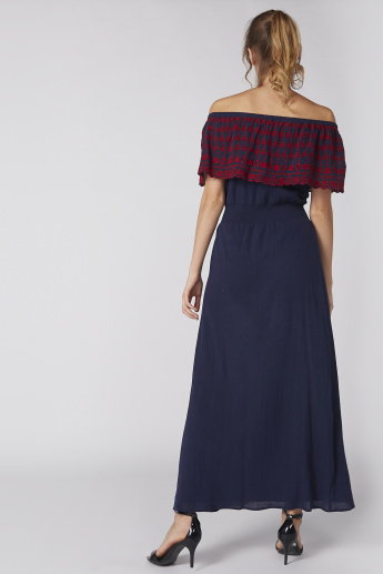 Off Shoulder Maxi Dress with Embroidery