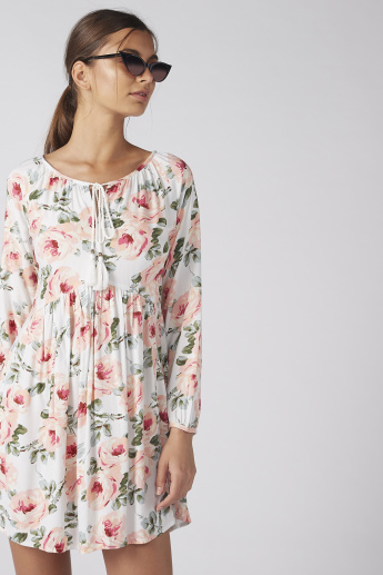 Floral Printed Dress with Long Sleeves and Tie Ups