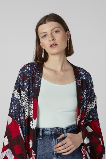 Printed Cardigan with Flared Sleeves
