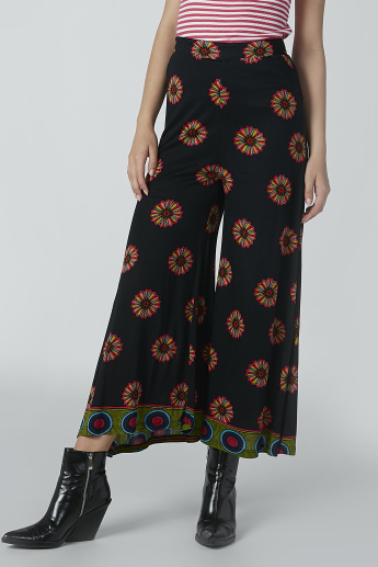 Wide Fit Printed Palazzo Pants with Elasticised Waistband