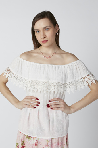 Off Shoulder Top with Lace Detail