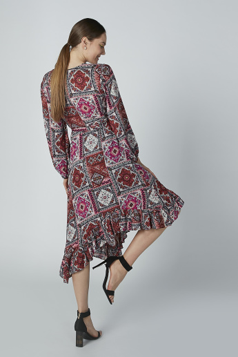 Printed V-neck Midi Asymmetric Dress with Long Sleeves