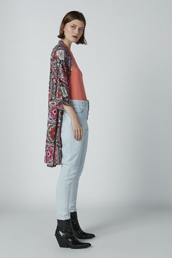 Printed Shrugs with 3/4 Sleeves and Tie Ups