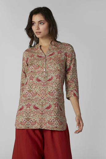 Sustainability Printed Top with Mandarin Collar and 3/4 Sleeves
