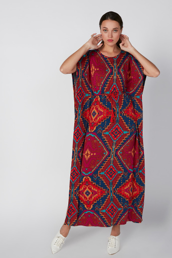 Sustainable Printed Cold Shoulder Kaftan Maxi Dress with Round Neck