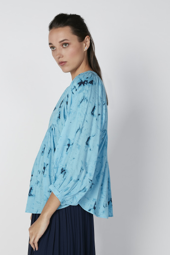 Sustainable Printed Top with Boat Neck and Bishop Sleeves