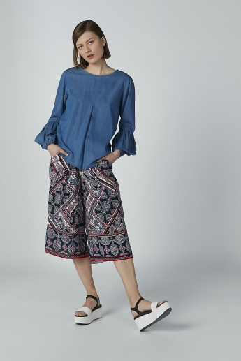 Printed Mid Waist Culottes with Pocket Detail