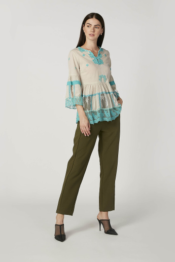 Embroidered Top with V-neck and 3/4 Sleeves