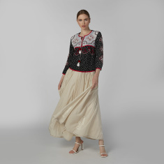 Embroidered Top with 3/4 Sleeves and Tie Ups