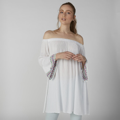 Embroidered Off Shoulder Tunic with Bell Sleeves