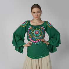 Embroidered Top with Scoop Neck and Flared Sleeves