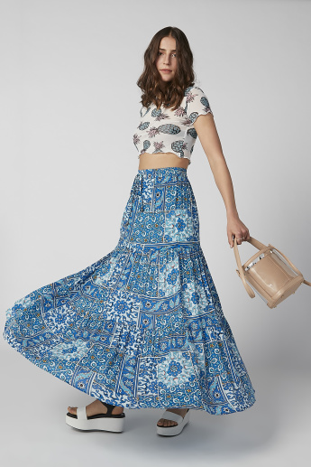 Printed Maxi A-line Skirt with Elasticised Waistband and Drawstring