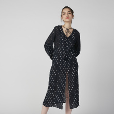 Sustainable Printed Tunic with Bishop Sleeves and Tie Ups