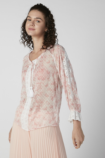 Sustainable Textured Top with Flounce Sleeves and Tie Ups