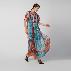 Printed Maxi A-line Dress with V-neck and Short Sleeves