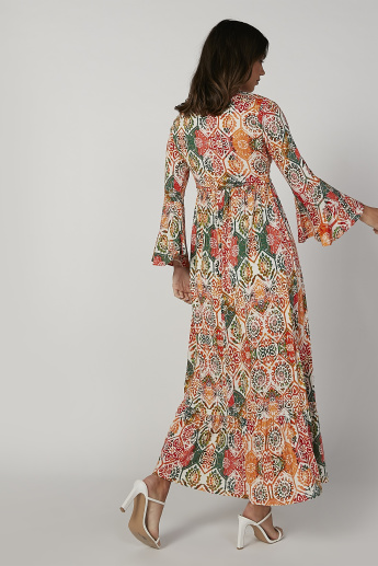 Floral Printed Maxi A-line Dress with V-neck and Bell Sleeves