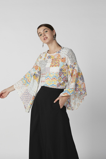 Sustainable Schiffli Top with Boat Neck and Flared Sleeves