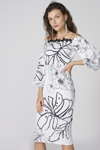 Printed Off Shoulder Midi Dress with 3/4 Sleeves