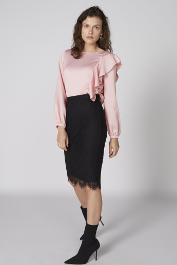 Round Neck Top with Long Sleeves and Ruffle Detail