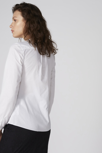 Ruffle Detail Shirt with Mandarin Collar and Long Sleeves