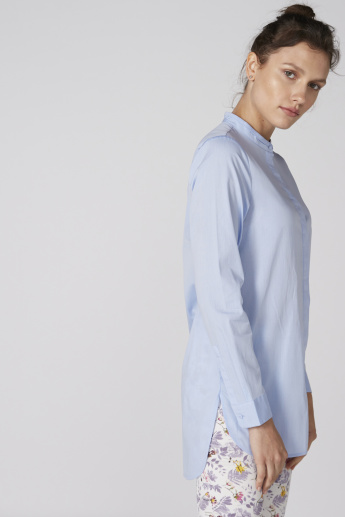 Mandarin Collar Shirt with Long Sleeves and Complete Placket