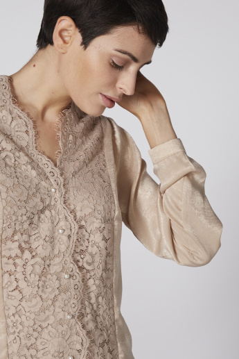 Lace Detail Shirt with Long Sleeves