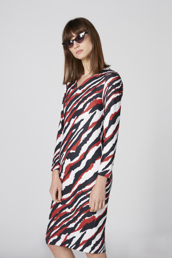 Printed Midi Dress with V-Neck and Long Sleeves