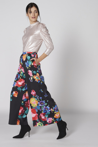 Printed Palazzo Pants with Elasticised Waistband and Pocket Detail