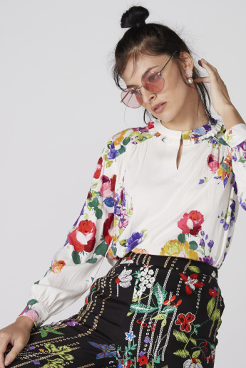 Floral Printed Top with Mandarin Collar and Long Sleeves