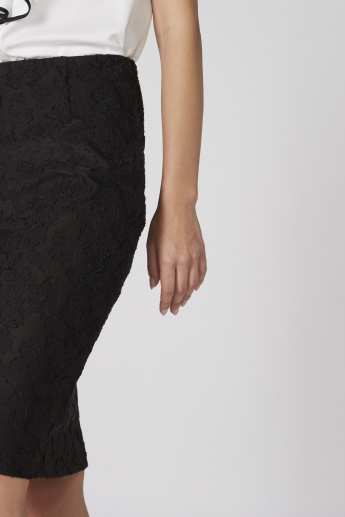 Lace Detail Pencil Midi Skirt with Elasticised Waistband