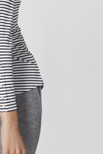 Striped T-Shirt with Long Sleeves and Button Detail