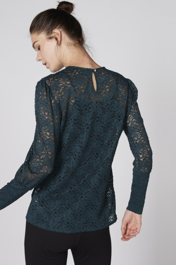 Lace Detail Top with Round Neck and Long Sleeves